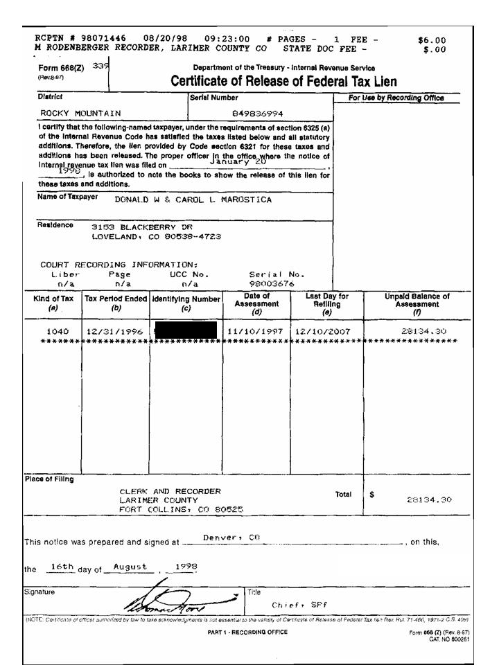 Don Marostica Failed To Pay Taxes Until The Irs Put A Lien On All